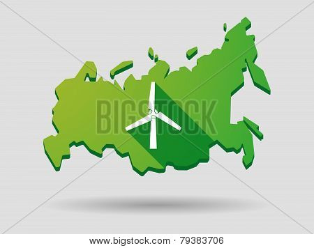 Russia Map Icon With A Wind Generator