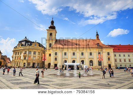 Old Town Square in the historical center of Sibiu