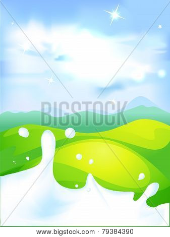 Splash Of Milk - Vector Illustration With Green Field And Natural Background