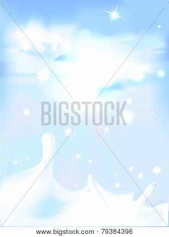 Splash Of Milk - Vector Illustration With Blue Sky Background
