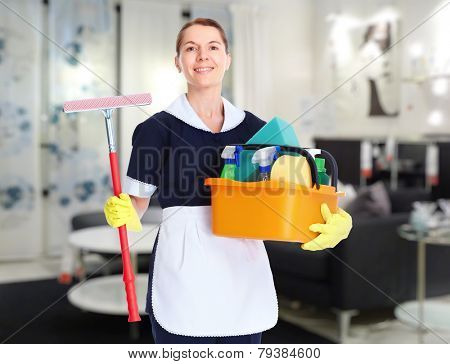Housemaid cleaner woman working in modern hotel