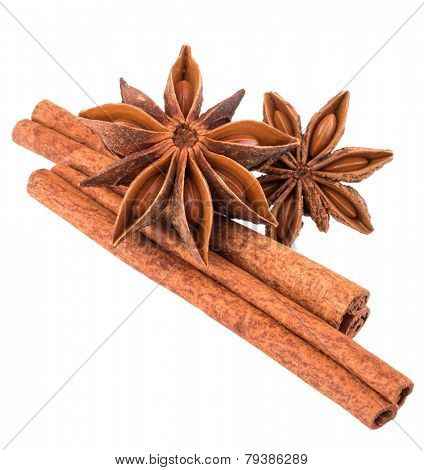 cinnamon stick and star anise spice isolated on white background closeup