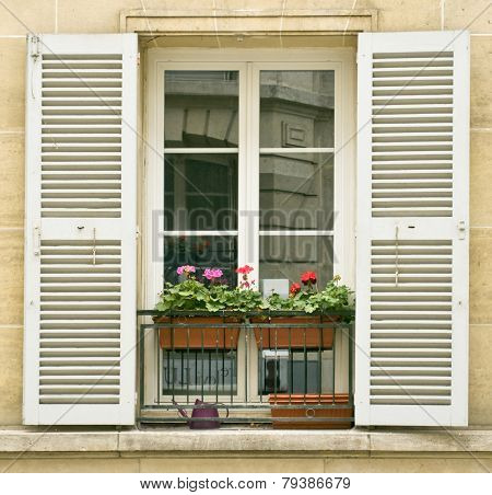 White Window With Shutters Of Old Buildings On Montmartre, Paris.