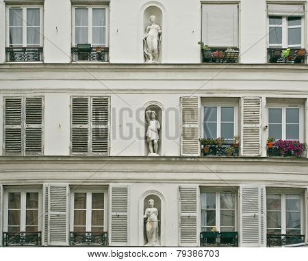 White Neoclassical Facade Of A Paris
