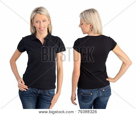 Woman wearing black polo shirt