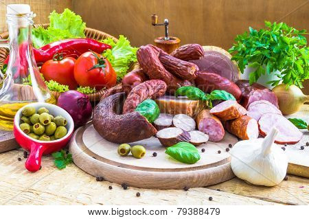 Variety Processed Meat Products Vegetables