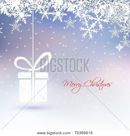 Abstract Christmas Greeting Card With Gift Box ,snowflakes,star On Frozen Background