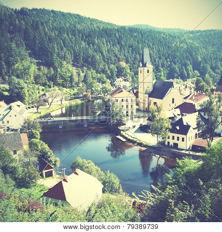 View of small old town near Rosenberg castle, Czechia. Instagram style filtred image