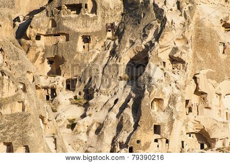 Detail of the ancient  castle of Uchisar dug from a mountains, Cappadocia, Turkey