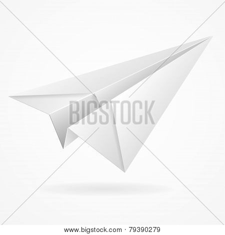 Vector origami paper airplane on white