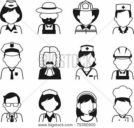 People occupation avatar set in thin flat style