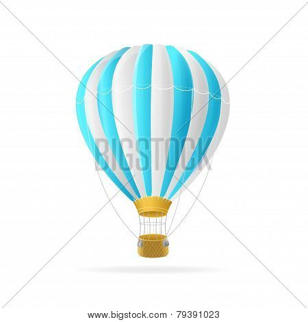 Vector white and blue hot air ballon isolated
