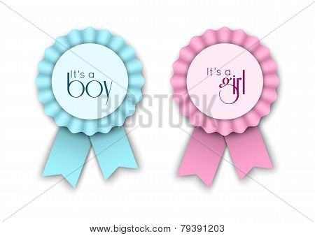Two Ribbon  Rosettes For Newborn Baby