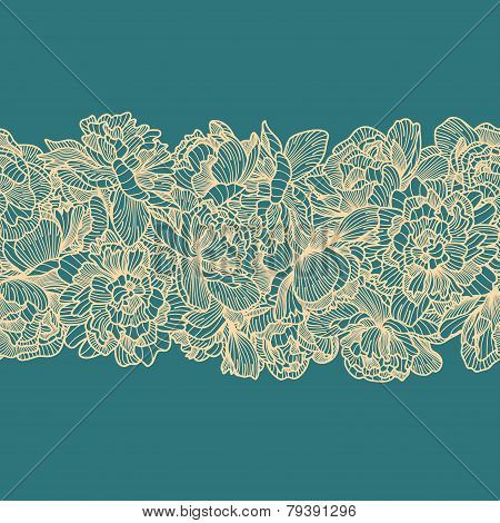 Seamless Peony Flowers Border On Blue Background