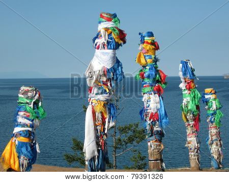 The unique ritualistic pillars on the Baikal Lake. 10.07.2014. Russia
