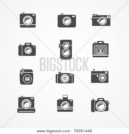 Vector photo camera retro and new icon set