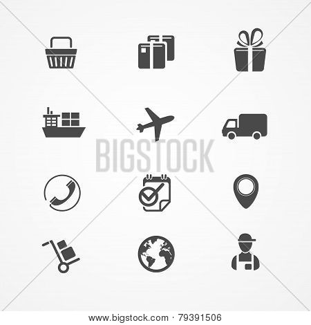 Vector Shipping, Logistics and cargo icon set
