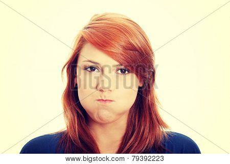Young woman with hiccup portrait