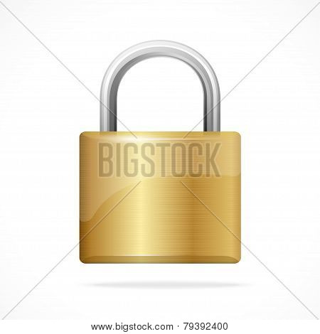 Vector locked padlock gold isolated