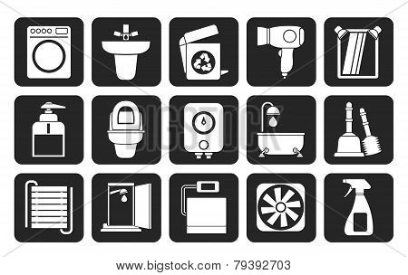 Silhouette Bathroom and toilet objects and icons