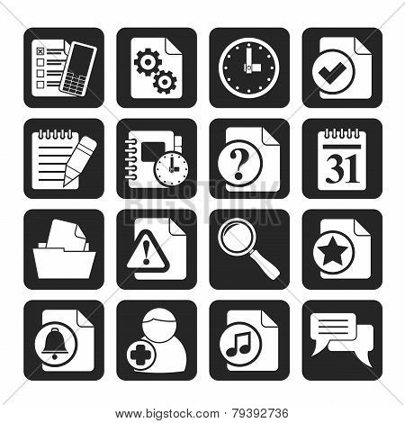 Silhouette Organizer, communication and connection icons
