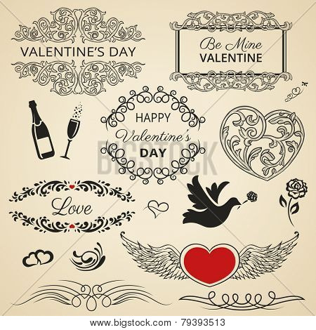 Collection of vintage Valentine's Day design elements.