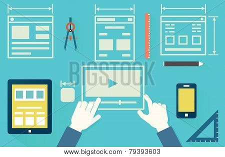 Flat Vector Illustration Of Mobile Application Optimization For Devices, Programming, Design And Ana