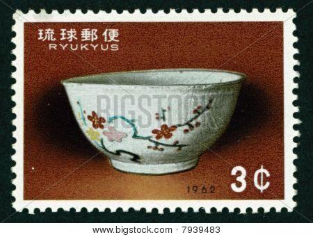 Okinawan Ryukyu Bowl Postage Stamp