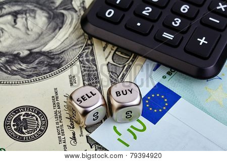 Usd Eur Banknotes, Dices Cubes, Calculator