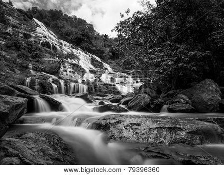 Mae Ya Waterfall, Doi Inthanon National Park, Chiang Mai, Thailand  In Black And White
