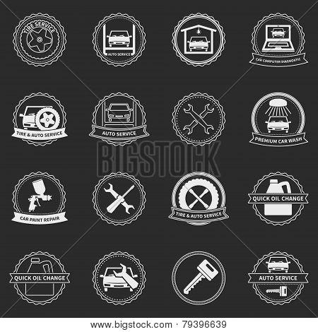 Vector car service emblems and badges
