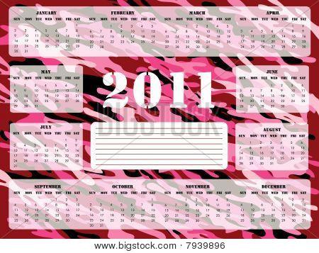 2011 Calendar in Pink and Burgundy - Sunday Start