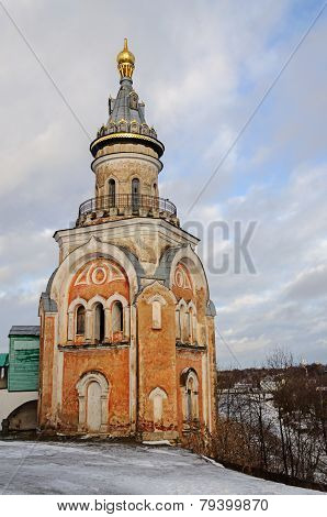 Old Tower Of Ancient Monastery In Torzhok, Wintertime