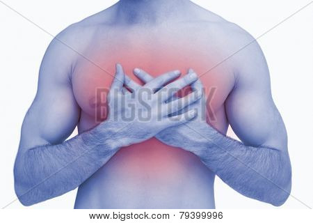 Midsection of shirtless man with chest pain over white background
