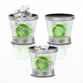 picture of trash truck  - Illustration trash can on a white background vector - JPG
