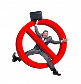 foto of taboo  - Sign no businessman on white - JPG