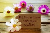 picture of smiling  - Brown Label With Sunny Yellow Effect With Life Quote Be The Reason Someone Smiles With Purple And White Cosmea Blossoms On Wooden Background Vintage Retro Or Rustic Style - JPG