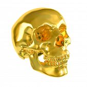 image of gold tooth  - Gold skull isolated on white background - JPG