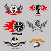 foto of motorcycle  - Car racing badges and motorcycle service - JPG