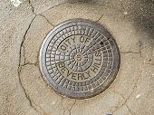 foto of manhole  - Manhole cover in Beverly Hills - JPG