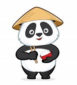 image of panda  - Clipart picture of a panda cartoon character holding a bowl of rice and chopsticks - JPG