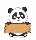 stock photo of panda  - Clipart picture of a panda cartoon character holding a plank of wood - JPG