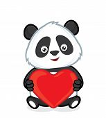 stock photo of pandas  - Clipart picture of a panda cartoon character holding heart love - JPG