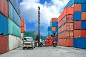stock photo of lift truck  - Crane lifter loading container box into truck in import export logistic zone - JPG
