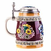 pic of edelweiss  - a german or austrian beer mug isolated over a white background - JPG