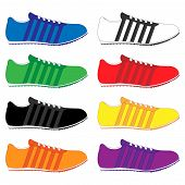 image of shoes colorful  - Running Shoes with Stripes in Different Colours Blue White Green Red Black Yellow Orange Purple - JPG