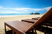 foto of recliner  - Beach vacation view with recliner in Boracay Island in the Philippines - JPG