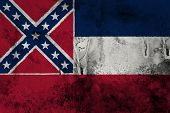 image of flag confederate  - Mississippi State Flag on old paper background - JPG