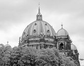 foto of dom  - Berliner Dom cathedral church in Berlin Germany in black and white - JPG