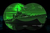 picture of battlefield  - Night vision watching at a warship  - JPG